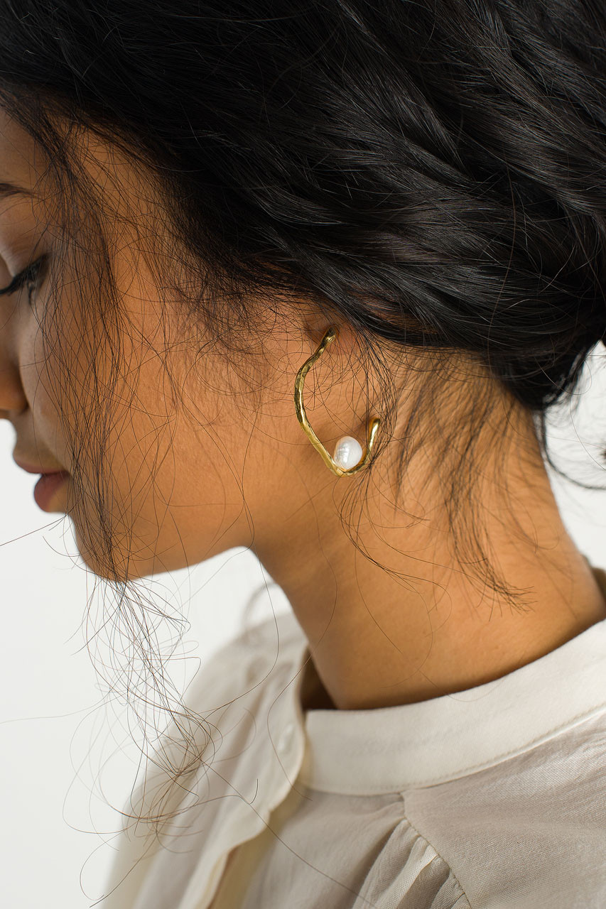 Pearl Hoop Earring, Gold Plated