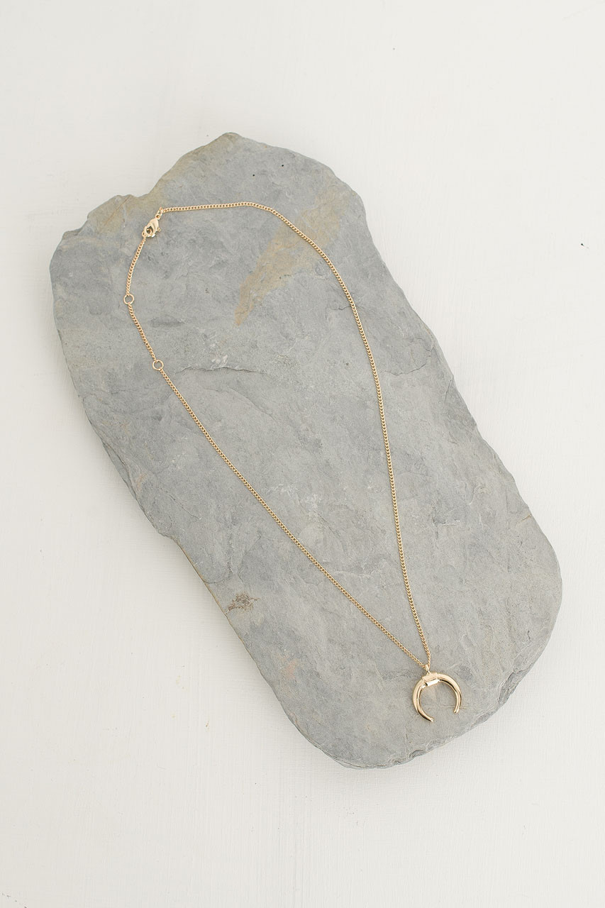 Horn Pendant Necklace, Gold Plated