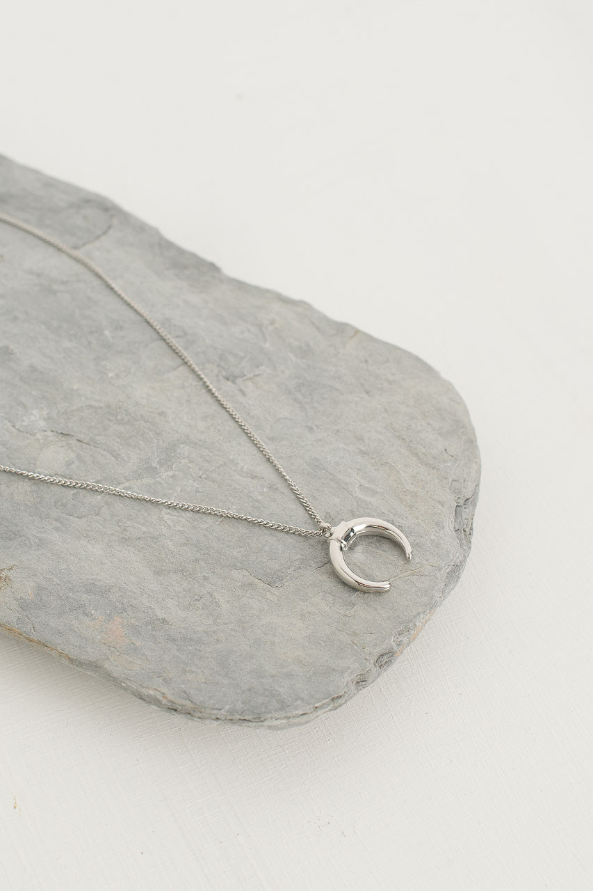 Horn Pendant Necklace, Silver Plated