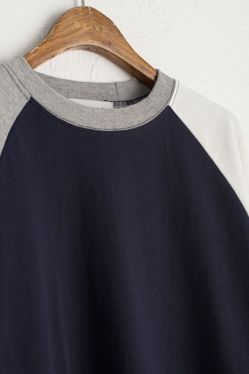 Colour Mix Raglan Tee, Navy