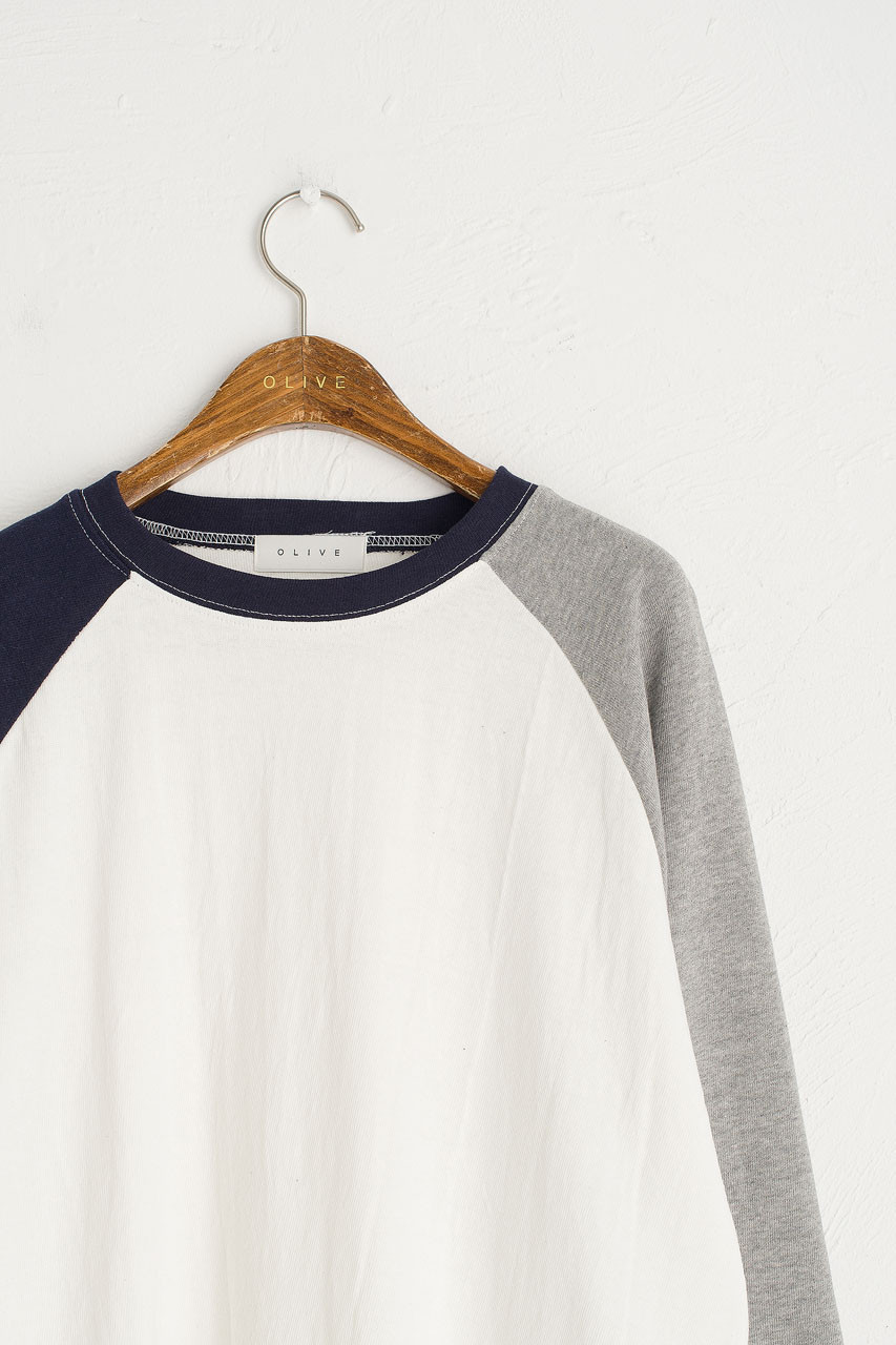 Colour Mix Raglan Tee, Ivory