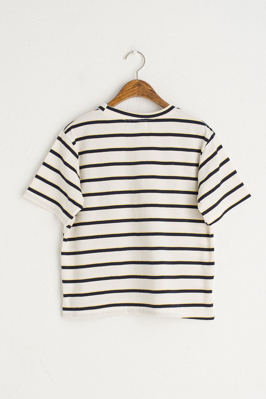 Double Stripe Short Sleeve Tee, Ivory