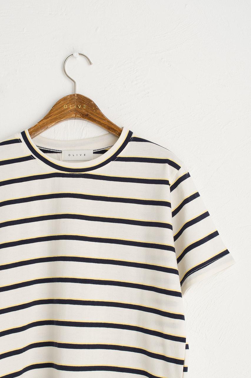 Double Stripe Short Sleeve Tee, Ivory