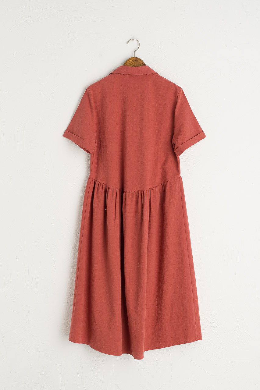 Open Collar Shirt Dress, Red