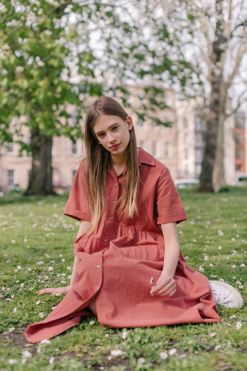 Open Collar Shirt Dress, Red