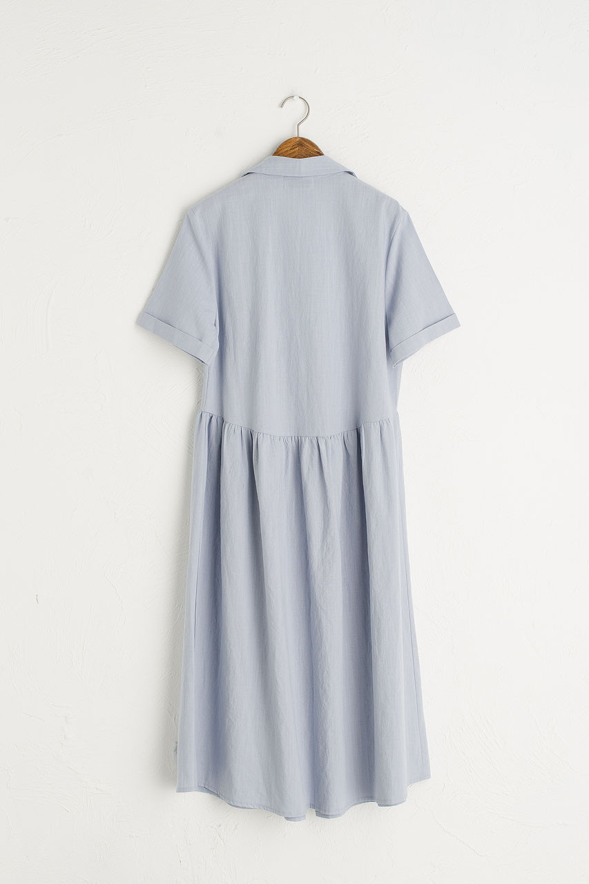 Open Collar Shirt Dress, Sky Blue