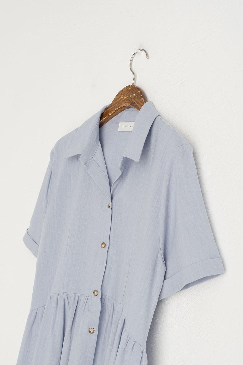 Open Collar Shirt Dress, Sky Blue