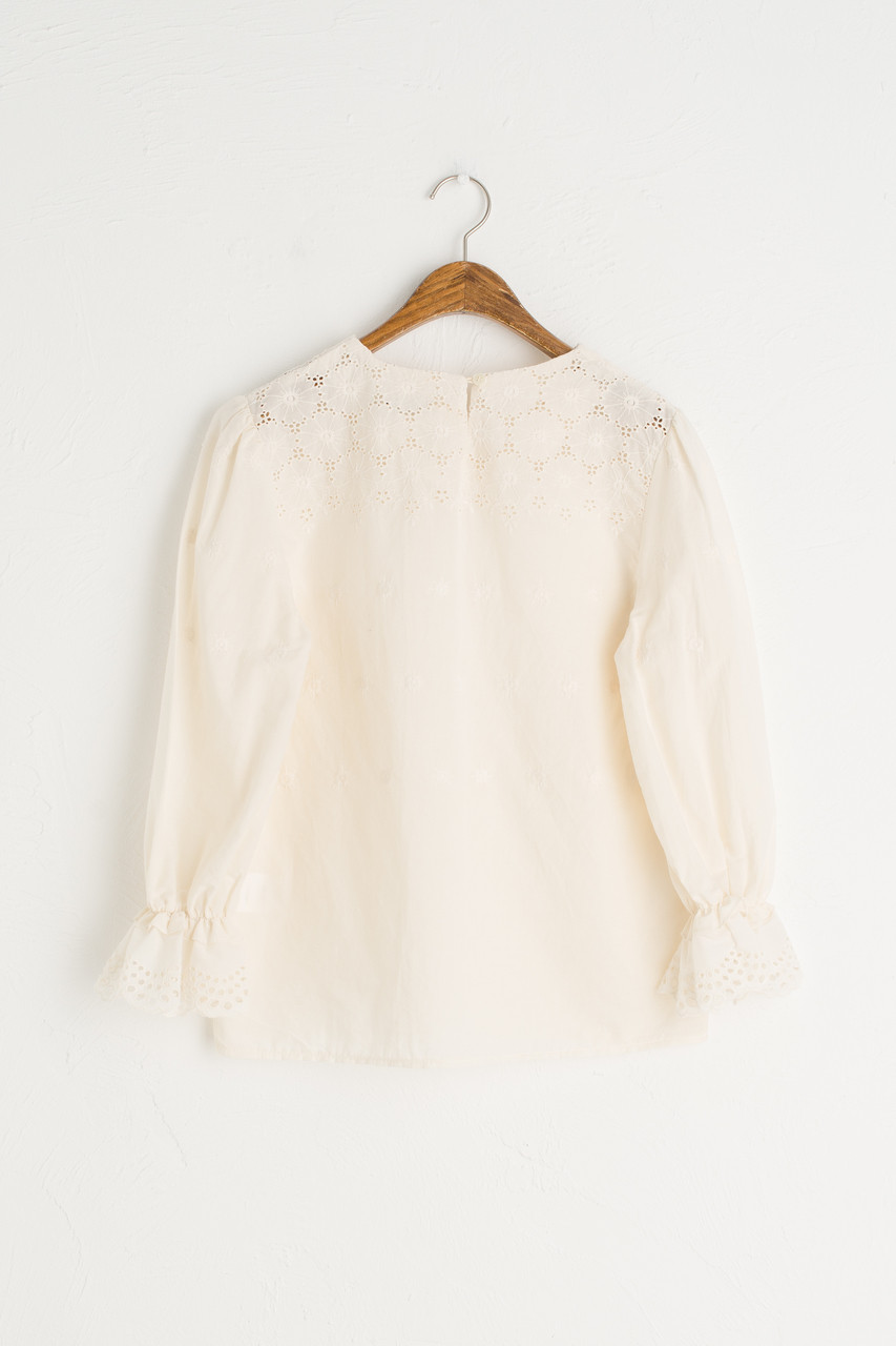 Crochet Cotton Round Neck Blouse, Beige