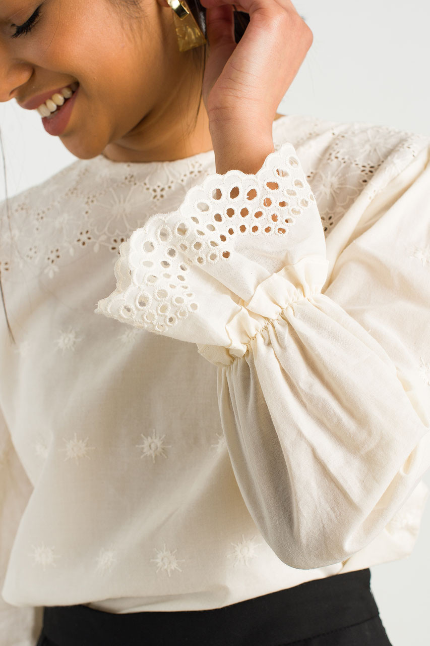 Crochet Cotton Round Neck Blouse, Beige