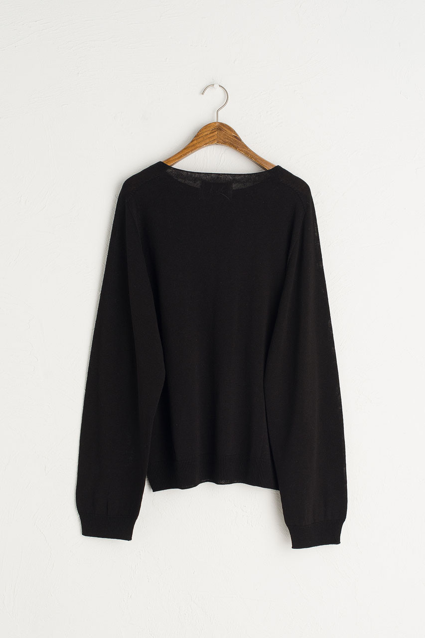 Seamless Boat Neck Jumper, Black