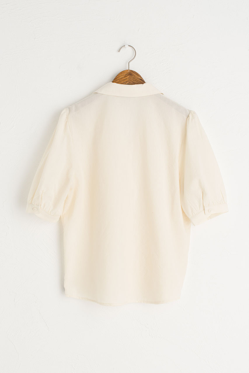 V Open Neck Short Sleeve Shirt, Camomile