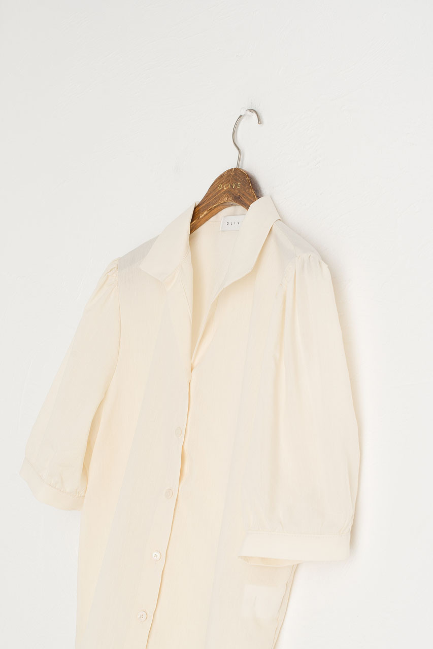 V Open Neck Short Sleeve Shirt, Camomile