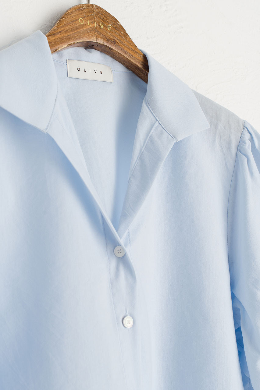 V Open Neck Short Sleeve Shirt, Sky Blue