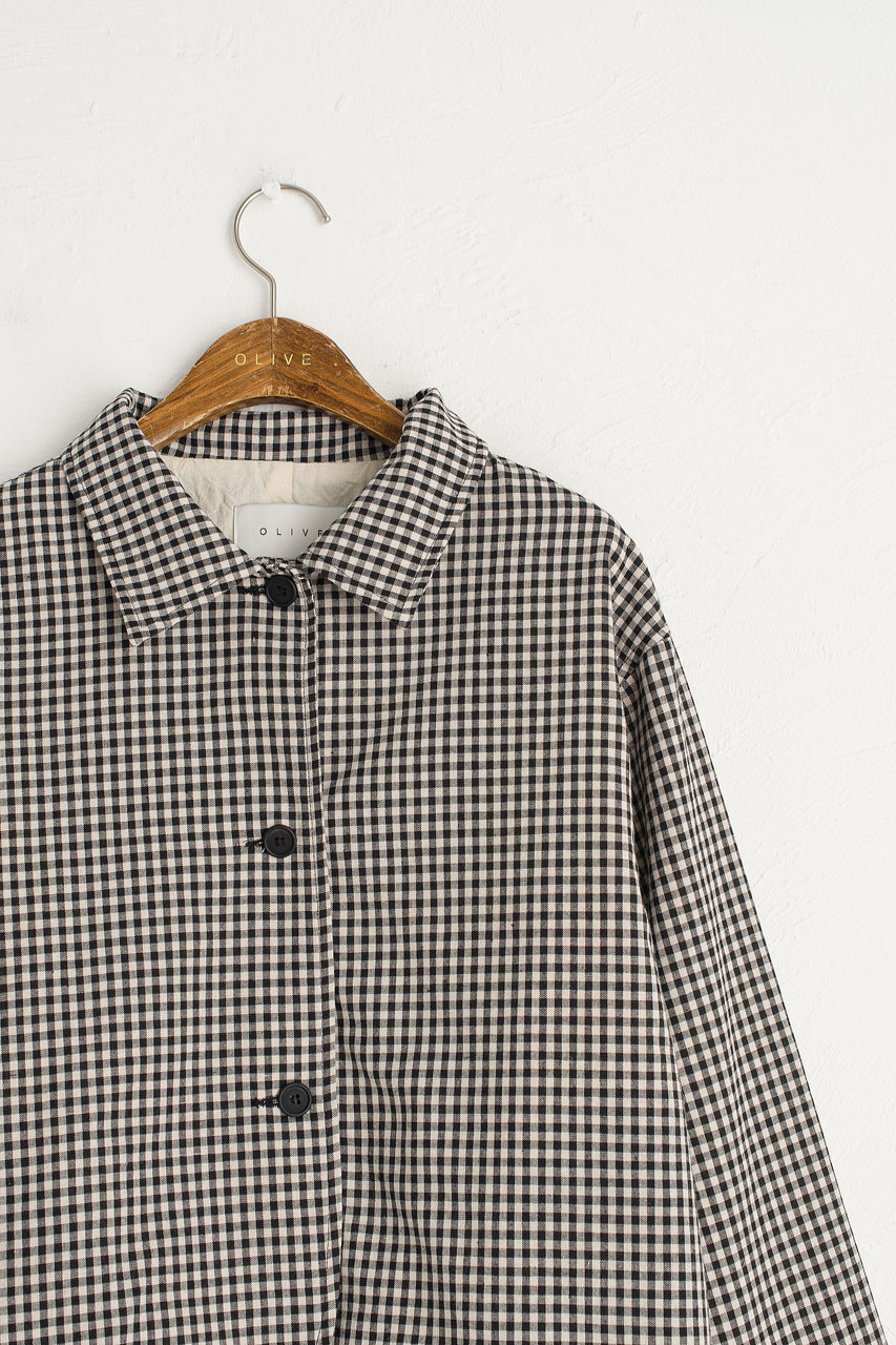 Gingham Check Cotton Blouson, Black