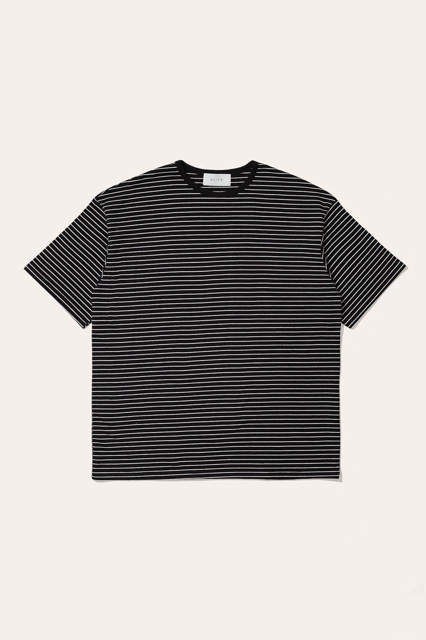 Menswear   Block Stripe Tee, Black