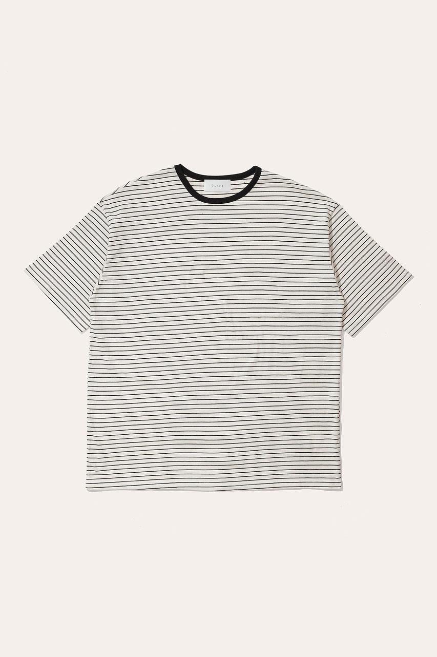 Menswear   Block Stripe Tee, Ivory