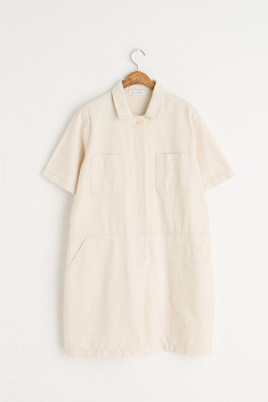 Twin Pocket Romper, Cream