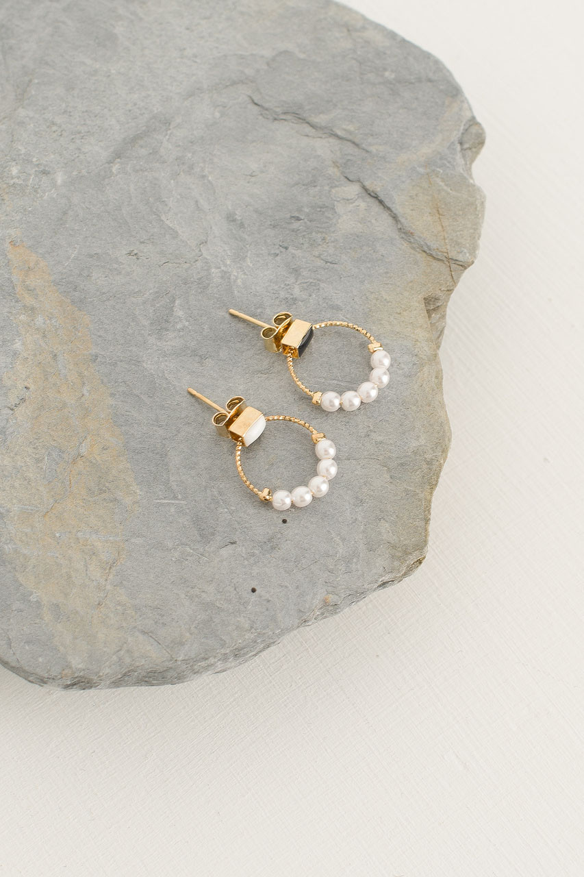 Mini Pearl Ring Stud, Gold Plated