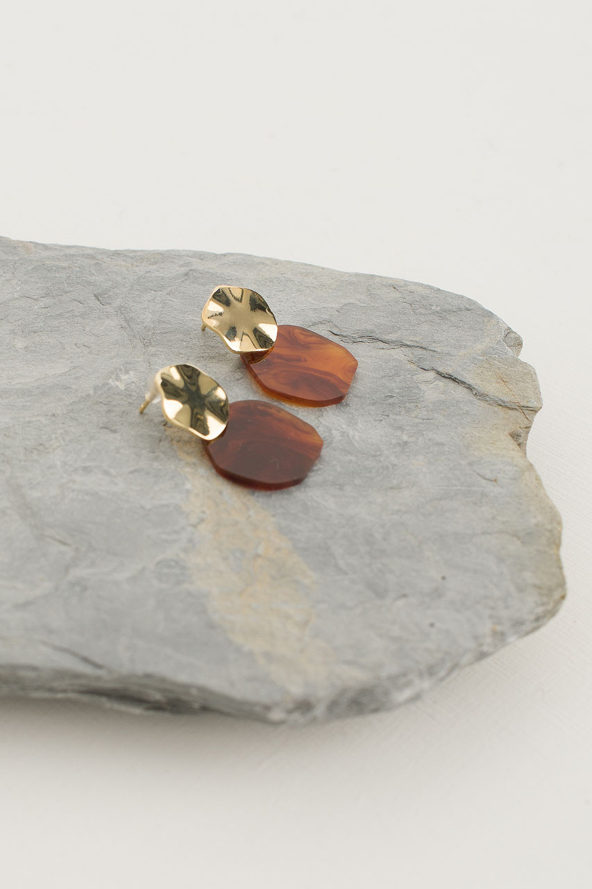 Stacey Earring, Gold Plated/Amber