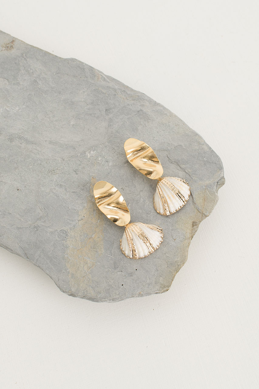 Party Shell Earrings, Gold Plated