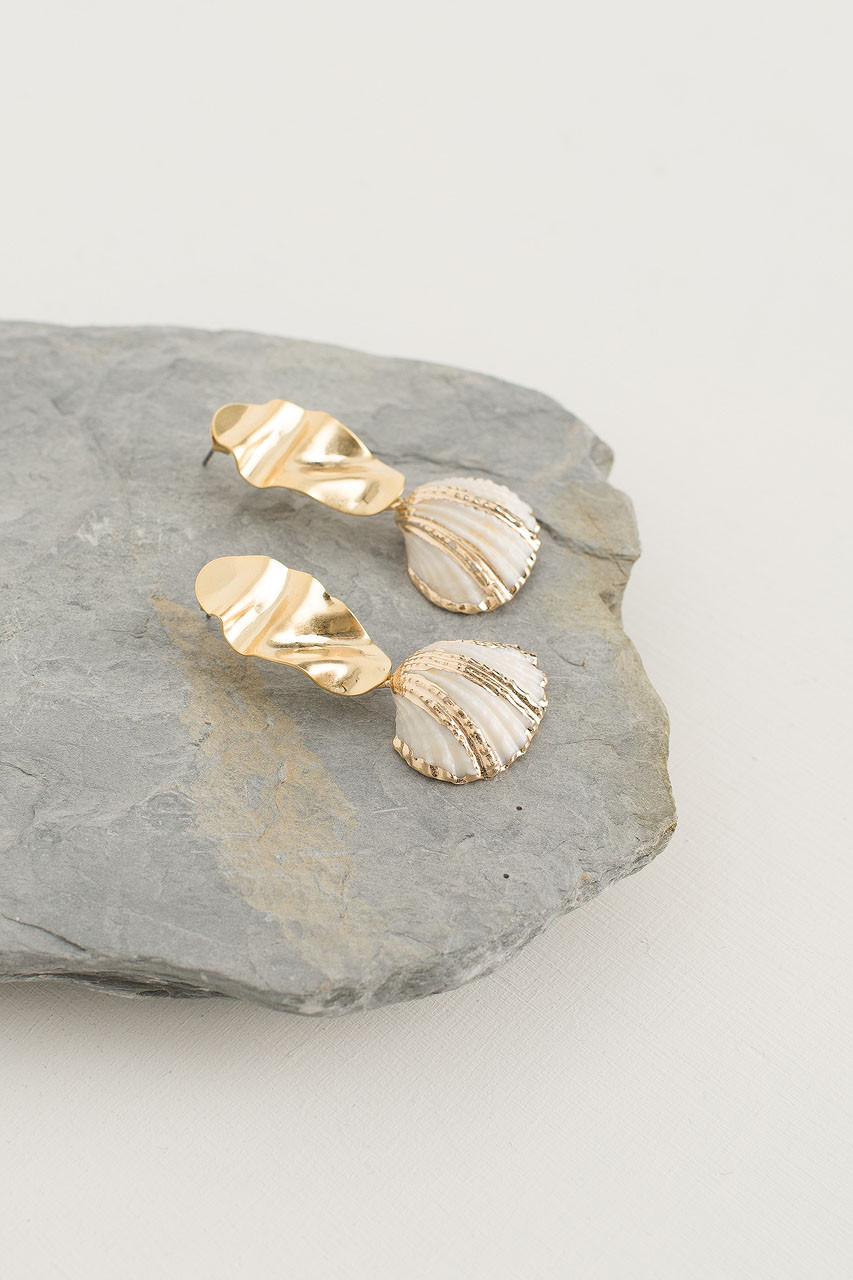 Party Shell Earring, Gold Plated