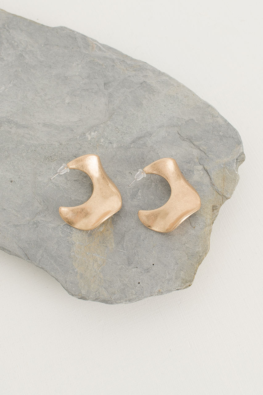 Wave Horn Earring, Gold Plated