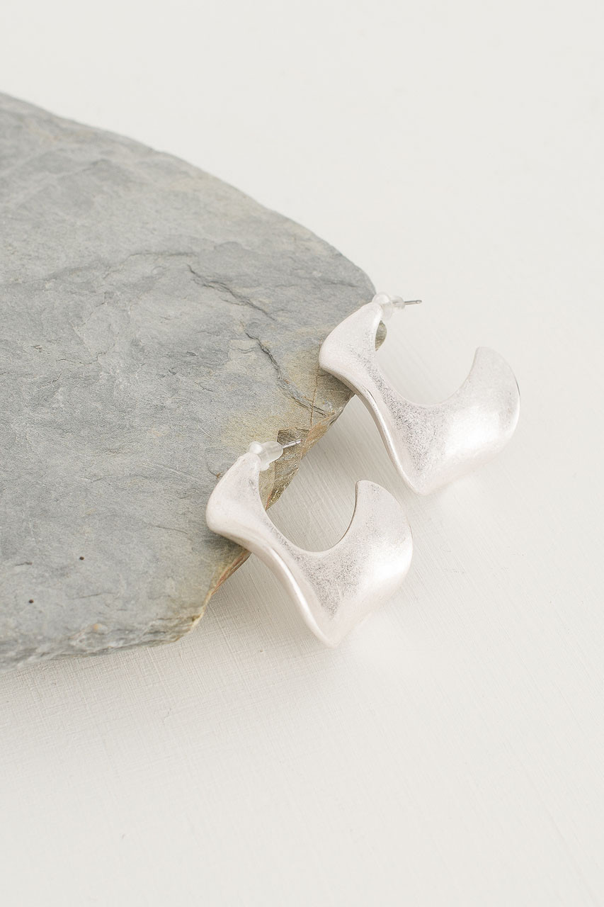 Wave Horn Earring, Silver Plated