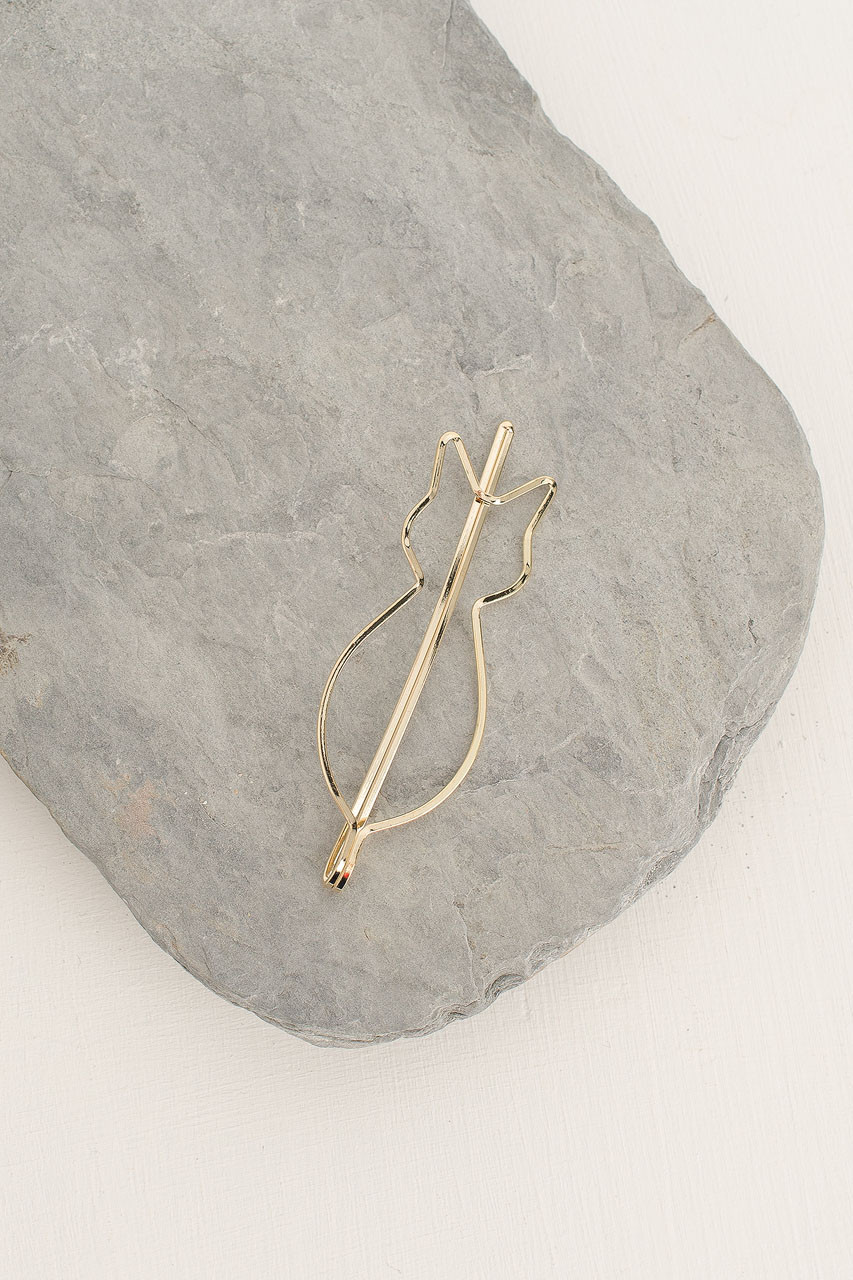 Cat Hair Pin, Gold Plated