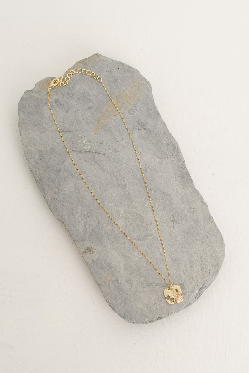 Simple Square Drop Necklace, Gold Plated