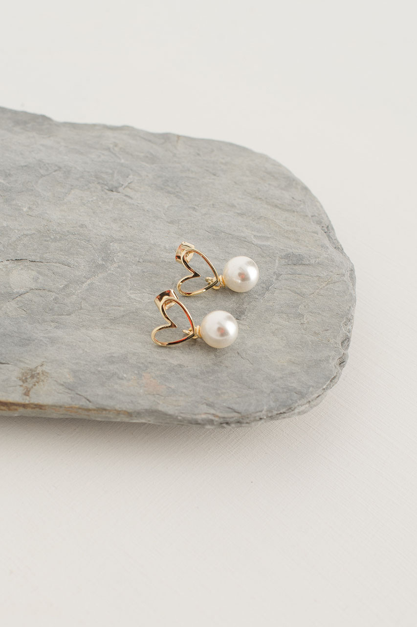 Lena Pearl Drop Earrings, Gold Plated