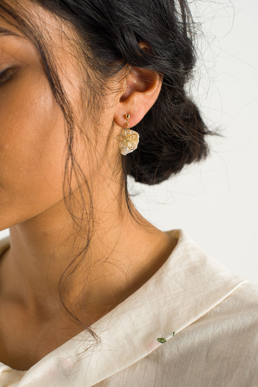 Fleur Earrings, Gold Plated