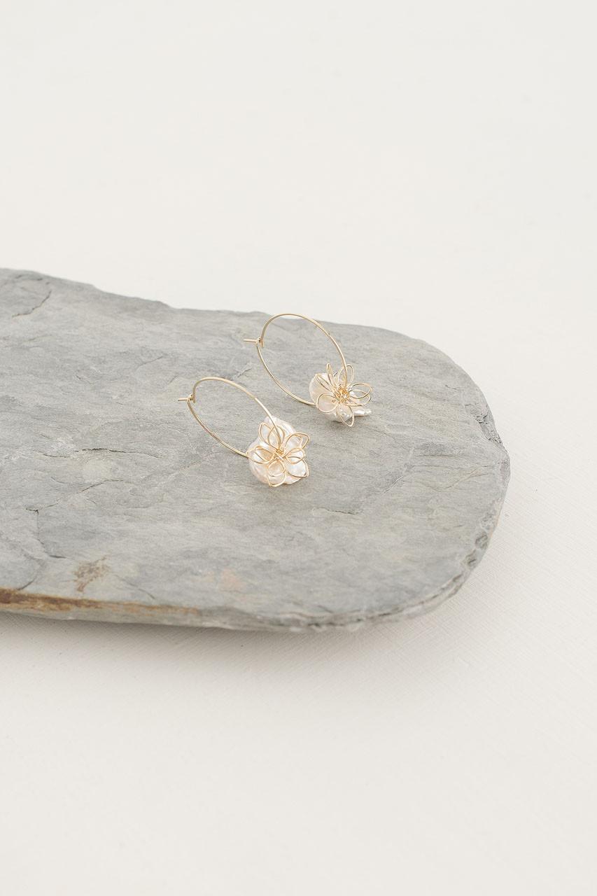 Fleur Hoop Earrings, Gold Plated