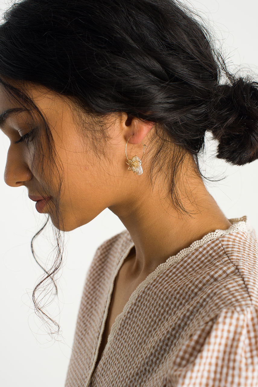 Fleur Hoop Earring, Gold Plated