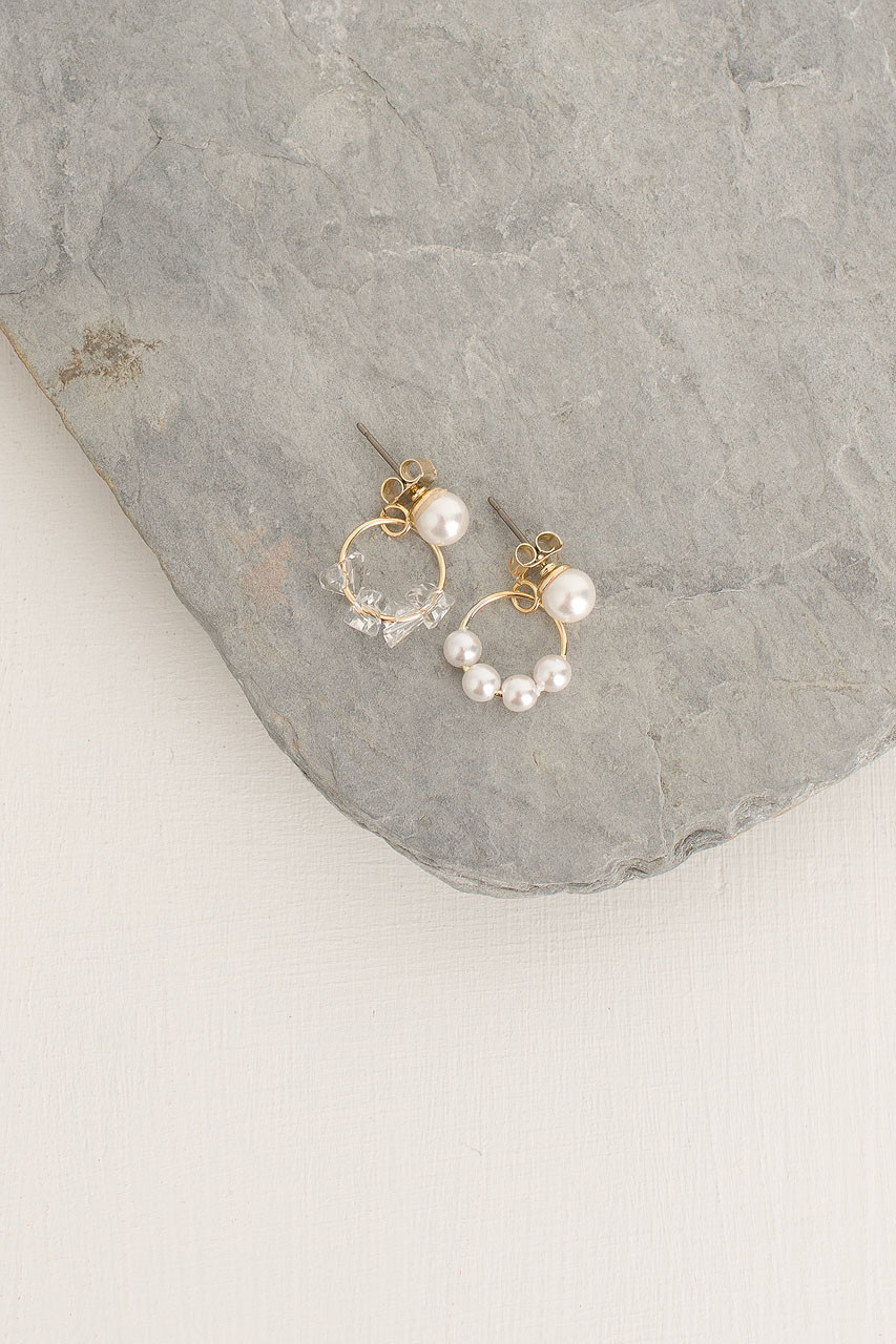 Vyte Mini Pearl Earrings, Gold Plated
