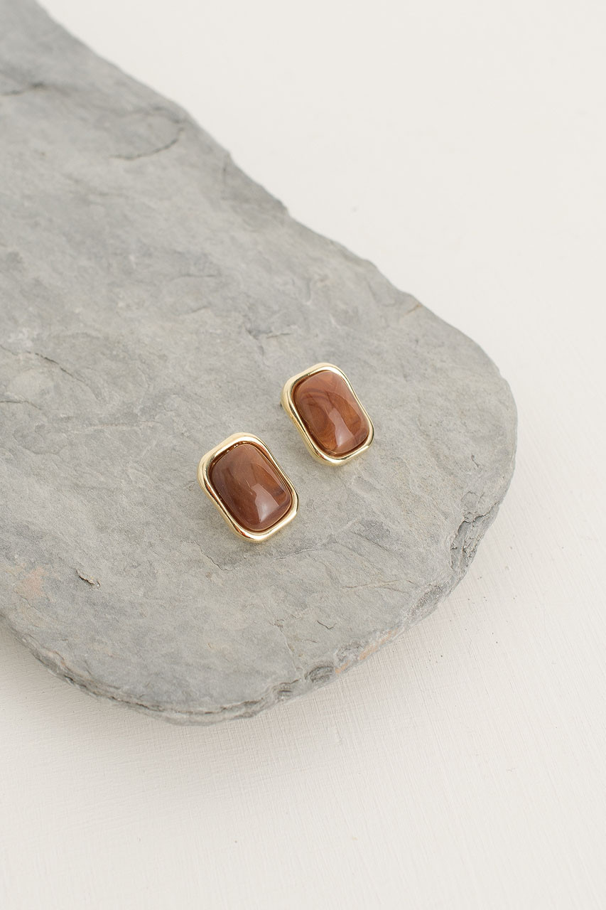 Austen Earring, Gold Plated/Brown