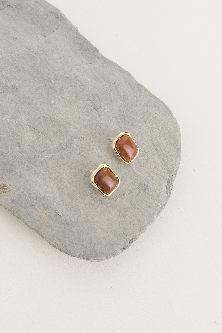 Austen Earrings, Gold Plated/Brown