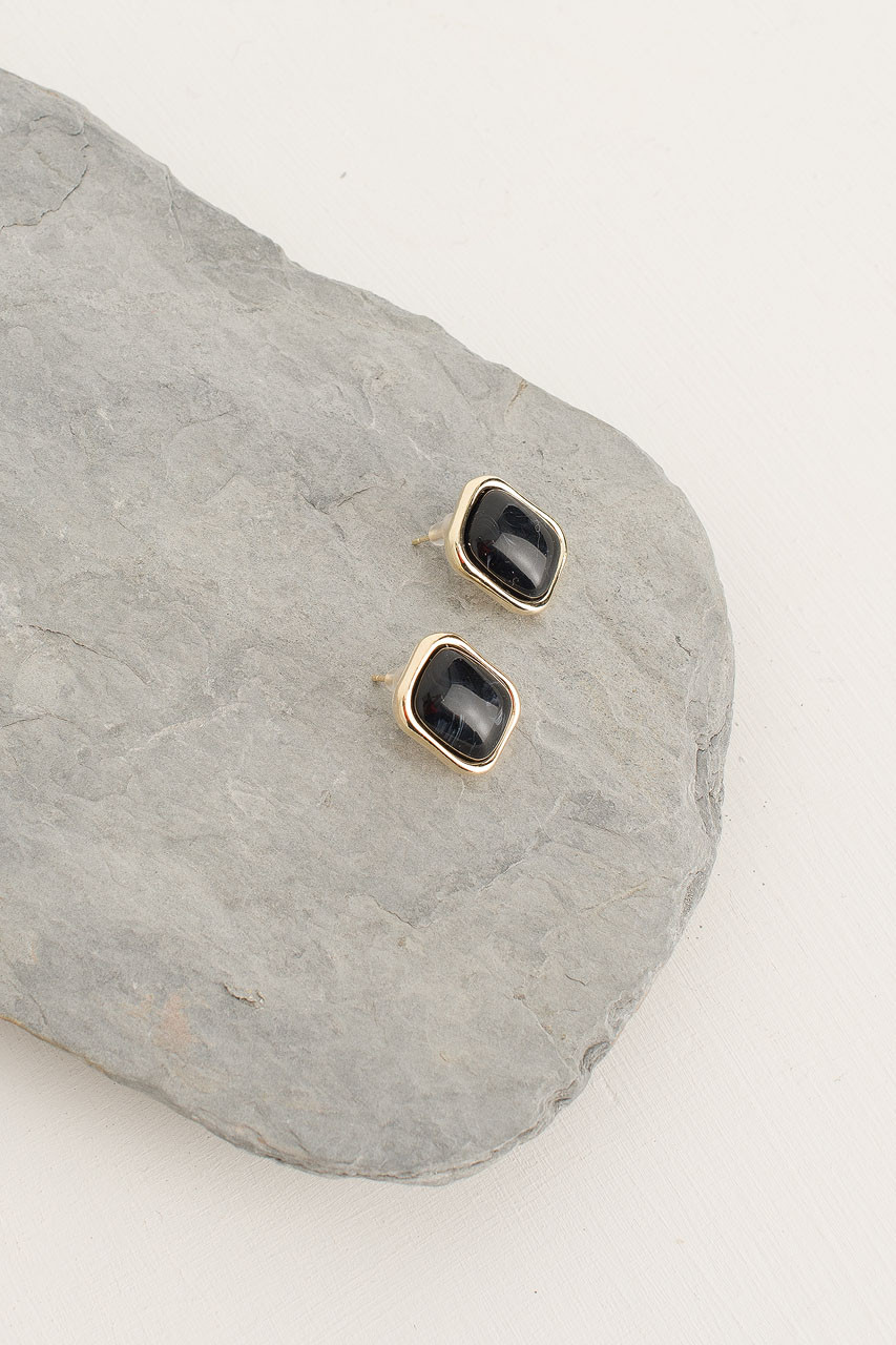 Austen Earrings, Gold Plated/Black