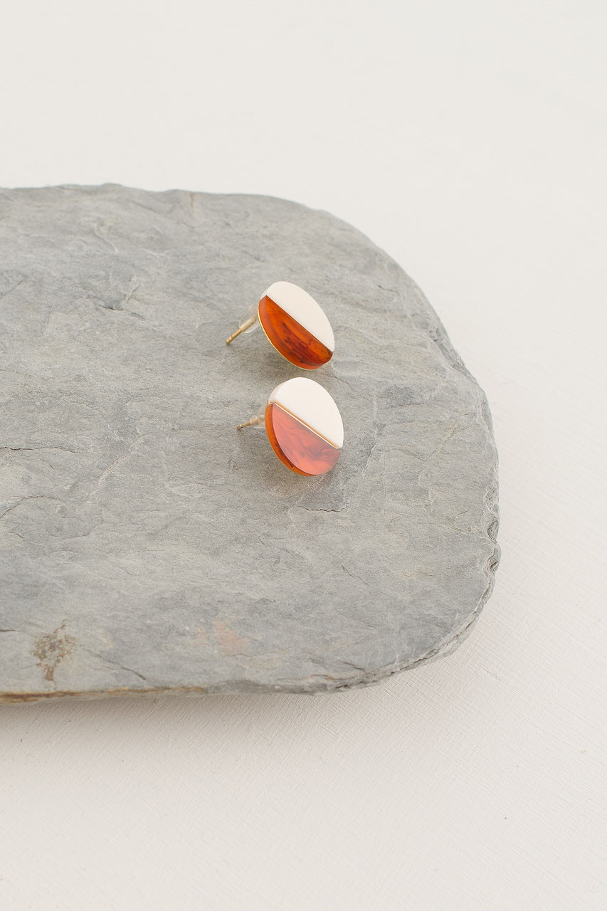 Resin Circle Stud, Gold Plated/Amber