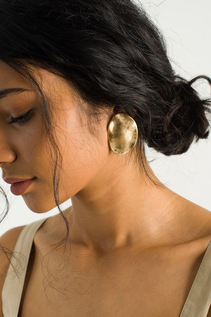 Crushed Disc Earring, Gold Plated