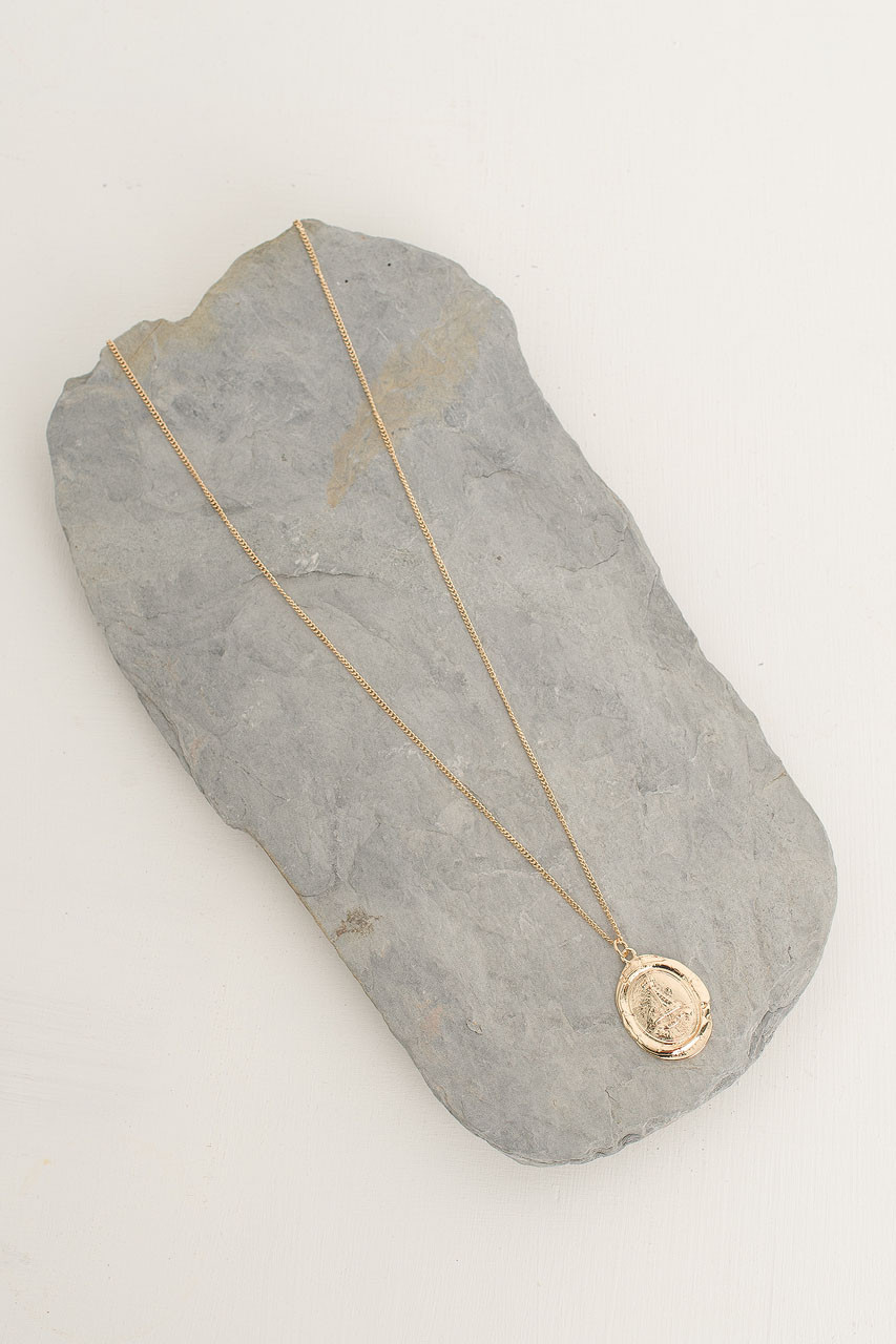 Crushed Coin Pendant Necklace, Gold Plated