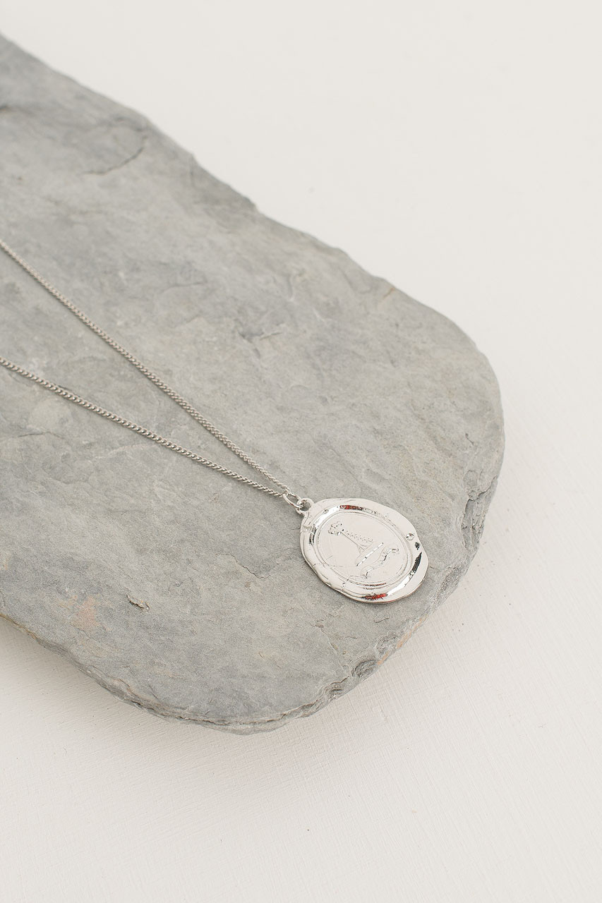 Crushed Coin Pendant Necklace, Silver Plated