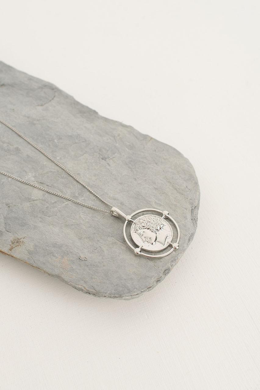 Poseidon Pendant Necklace, Silver Plated