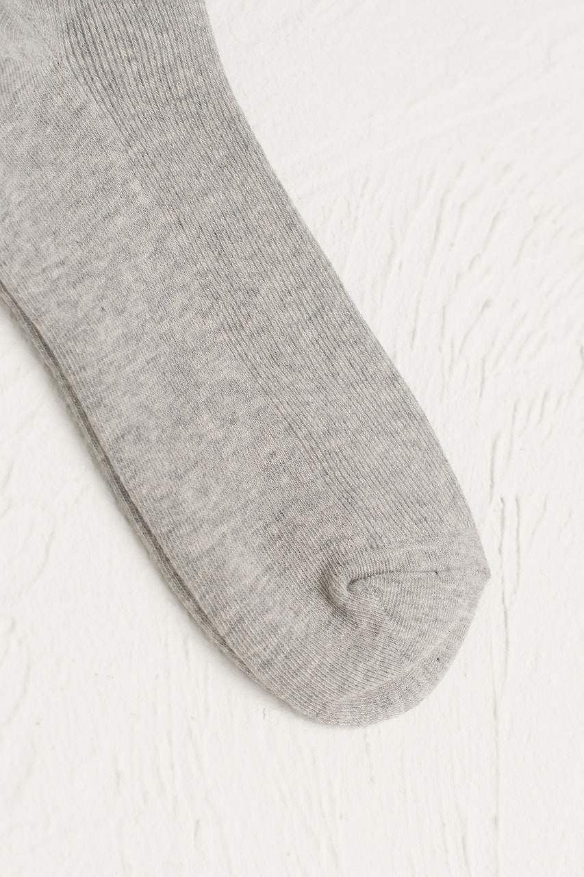 Sena Simple Ribbed Socks, Melange Grey