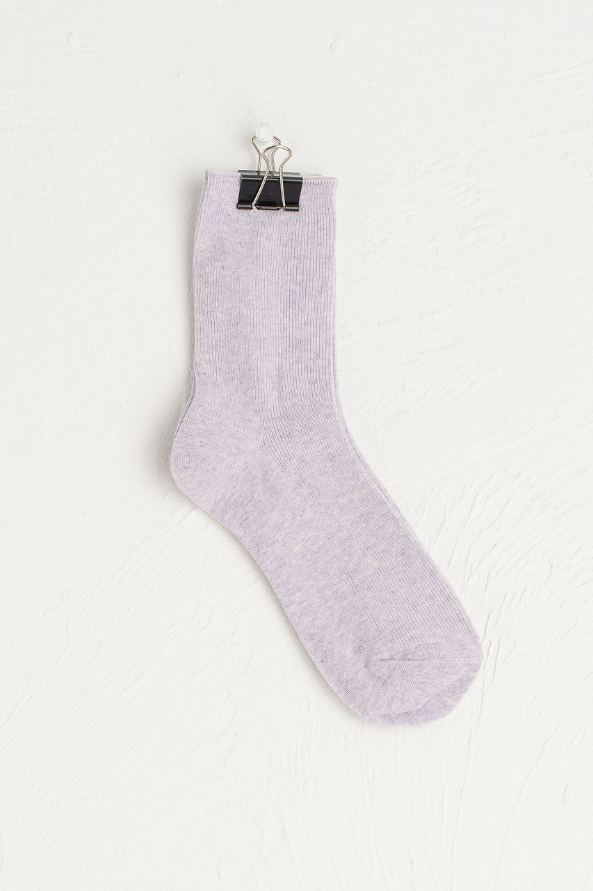 Sena Simple Ribbed Socks, Violet