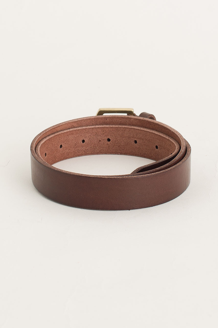 Gold Arch Buckle Belt, Brown