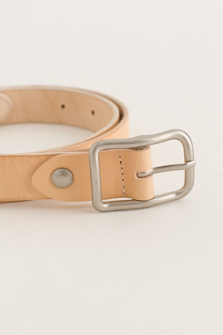 Siena Square Buckle Belt, Beige