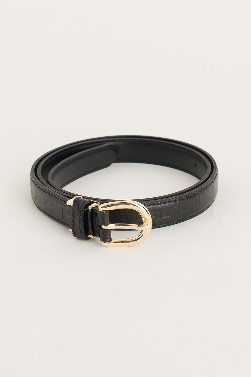 Siena Half Oval Belt, Black
