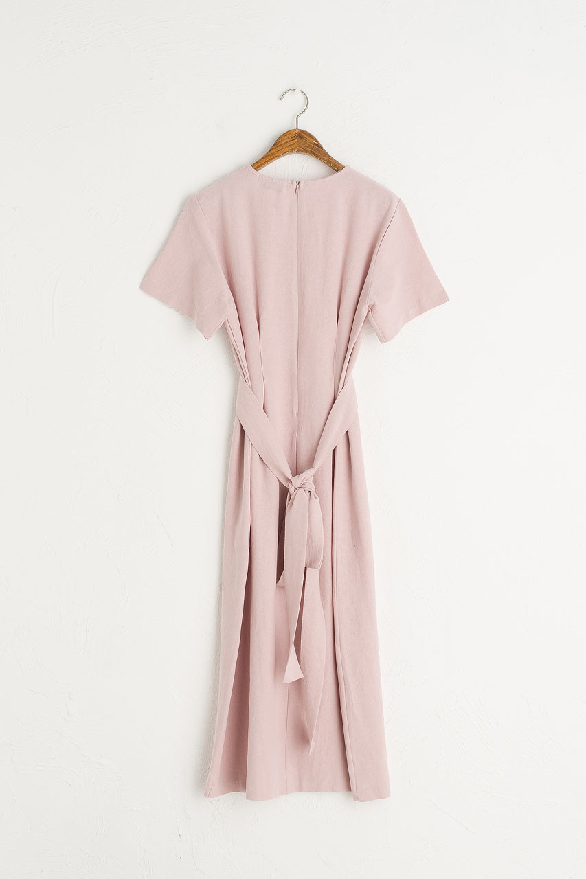 Dana Sash Long Dress, Pale Pink