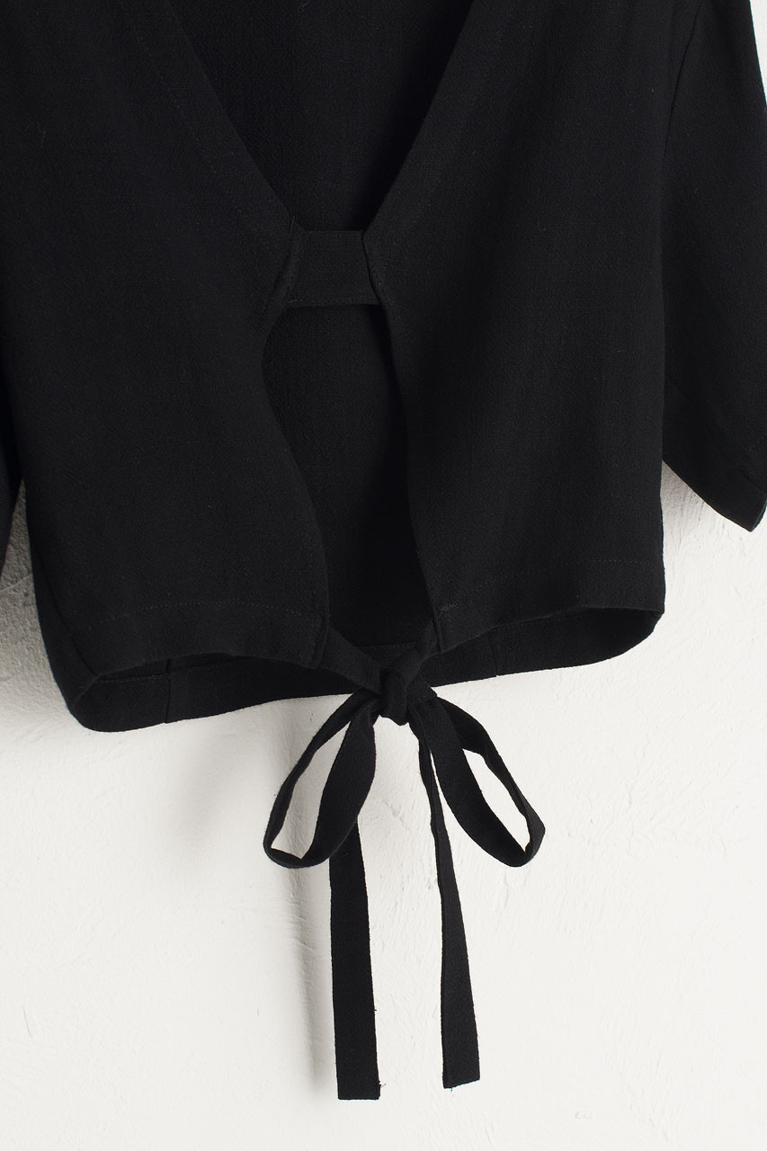 Open Back Cropped Top, Black