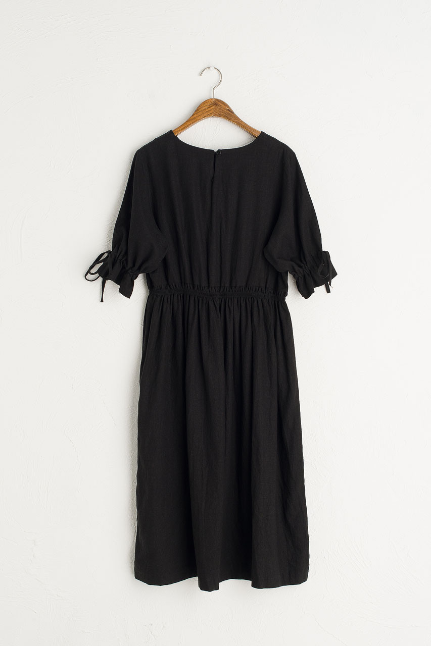 Ribbon Sleeve Linen Dress, Black